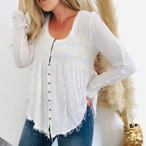 FP FREE PEOPLE White Button Long Sleeve Blouse M